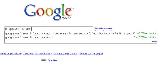 Google no va a buscar, curioso resultado de la función autocompletar - google-chuch-norris