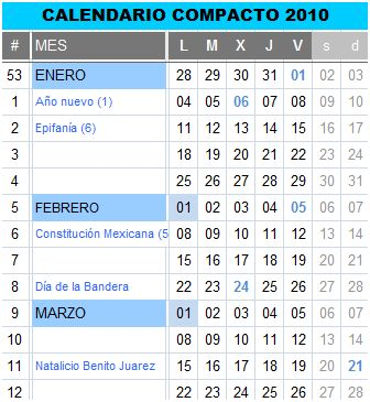Calendario 2010 compacto en español - calendario-2010-mexico