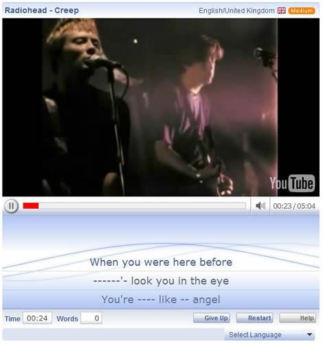 aprender ingles Aprender ingles con canciones, lyricstraining.com