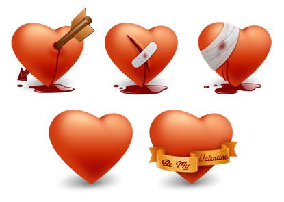 iconos san valentin Dia del amor, iconos y vectores gratis
