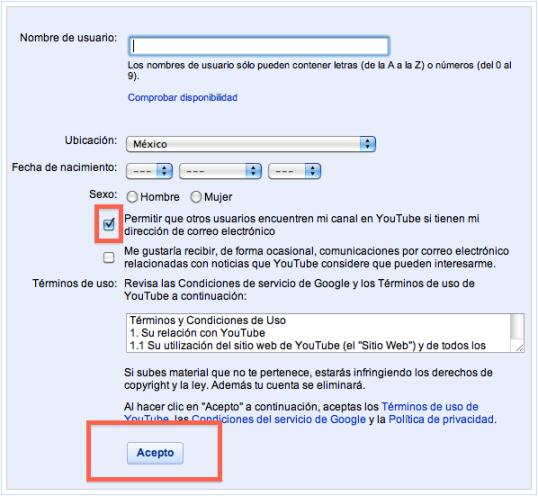 Captura de pantalla 2010 04 08 a las 22.38.31 Cómo hacer una cuenta de YouTube para subir, comentar o calificar videos