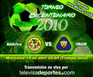 america pumas en vivo America vs Pumas en vivo, Bicentenario 2010