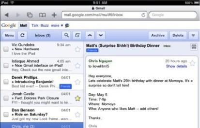 gmail ipad Gmail preparado para el iPad