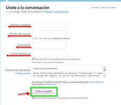 Como crear una cuenta en Twitter - twitter-2