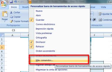 barra office 1 Personaliza la barra de herramientas de acceso rápido en Office 2007