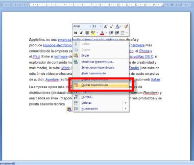hipervinculo 2 Como quitar los hipervínculos de un documento en Word