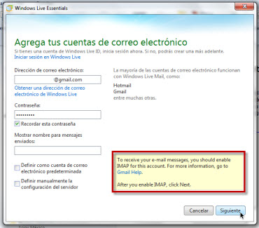 Agregar Gmail a Windows Live Mail - agragr-nueva-cuenta-live-mail