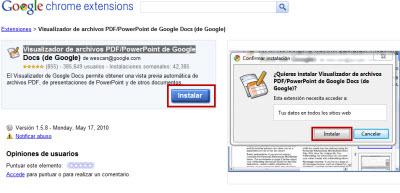 Como ver documentos y archivos PDF en Google Chrome - extension-google-docs