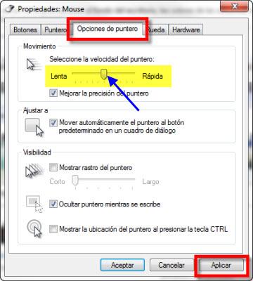 puntero 3 Como cambiar la velocidad del puntero en Windows 7