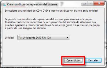 reparacion de sistema Crear un disco de reparación de Sistema de Windows 7