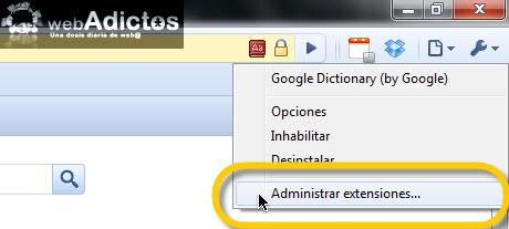administrar extendiones chrome Agregar diccionario de Google en Chrome