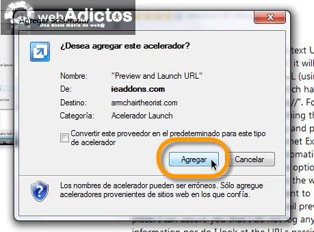 agregar acelerador Comprueba las direcciones URL en Internet Explorer