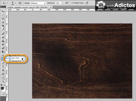Crear grabado de madera en Photoshop - burn-tool-photoshop