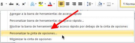 cinta de.opciones office Personalizar pestañas de Office 2010