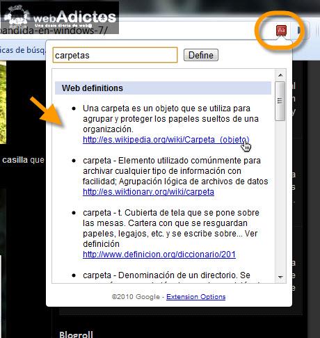 definiciones en internet Agregar diccionario de Google en Chrome