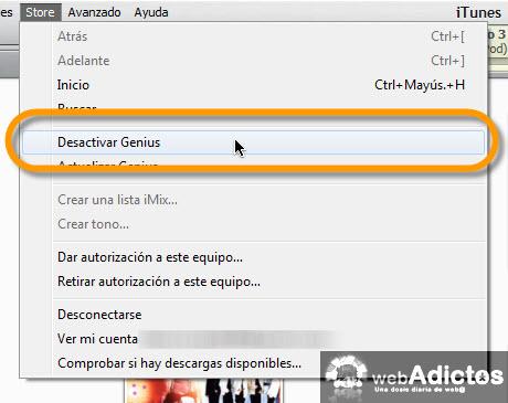 Hacer mas rápido iTunes para Windows - desactivar-genius