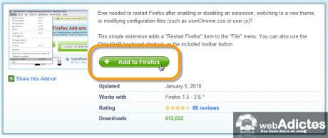 Añadir botón de Reinicio Rápido en Firefox - descargar-addon-reinicio-rapido-firefox