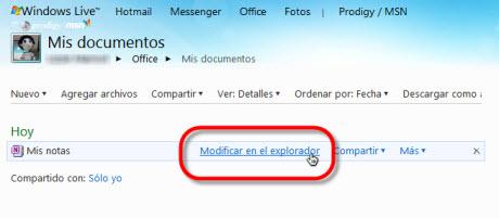 editar archivo en linea Sincronizar OneNote 2010 con Office Live