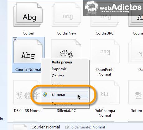 Desinstalar o eliminar una Fuente en Windows 7 - eliminar-fuentes1