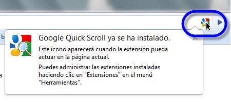 Agilizar búsquedas en Google Chrome - google-quick-scroll-instalado