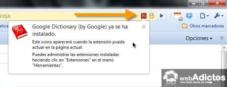 Agregar diccionario de Google en Chrome - google.dictionary-instalado