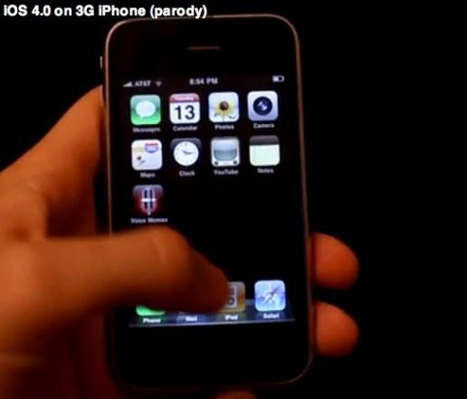 Parodia del iPhone 3G corriendo el iOS 4 - ios4-parody