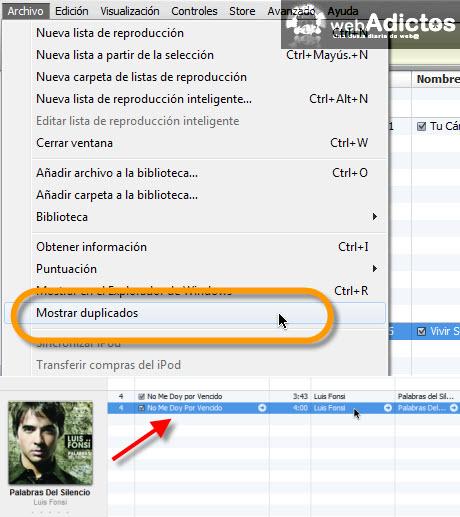 Hacer mas rápido iTunes para Windows - mostrar-duplicados-itunes