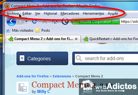 Compacta tu barra de herramientas en Firefox - ocultar-menu-herramientas