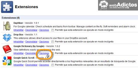 Agregar diccionario de Google en Chrome - opciones-google.dictionary