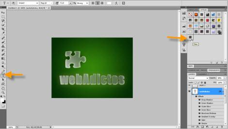 Agregar efecto de cristal a objetos en Photoshop - texto-con-efecto-cristal