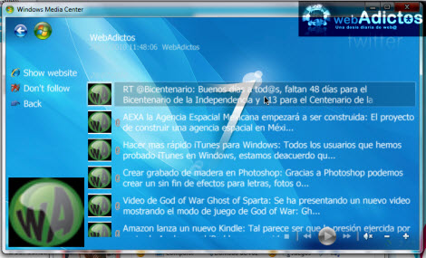 Revisa tu Twitter desde Windows Media Center - twitter