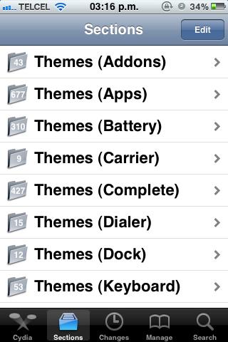 Cydia Sections Como acelerar el tiempo de carga de Cydia en el iPhone