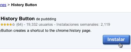History Button historial chrome 3 Accede a tu historial rapidamente en Google Chrome
