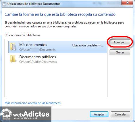 agregar carpeta guardar1 Cambiar la carpeta de guardado por defecto en Windows 7
