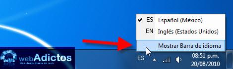 Cambiar el idioma del teclado en Windows - barra-idioma-windows