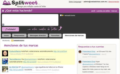 cliente twitter Splitweet, Cliente twitter para múltiples cuentas