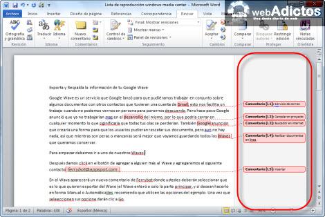 Insertar comentarios en Word 2010 - comentarios-word