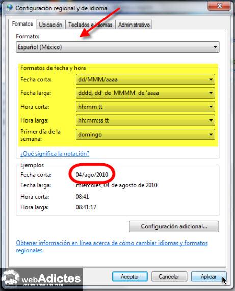 configurar formato fecha Cambiar el formato de la fecha en Windows 7