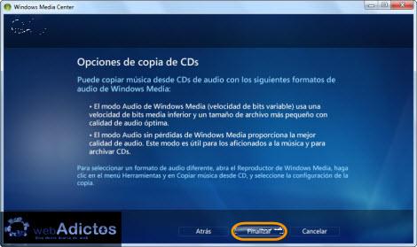 copiar cd opciones Copiar un CD desde Windows Media Center