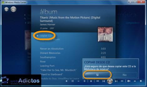 copiar discos windows media center Copiar un CD desde Windows Media Center