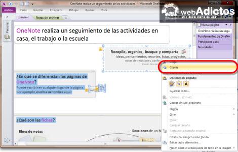 Importar una nota de OneNote 2010 a Evernote - copiar-nota-onenote