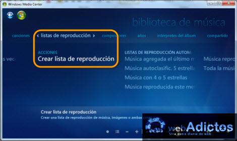 Crear una lista de reproducción en Windows Media Center - crear-lista-reproduccion-windows-media-center