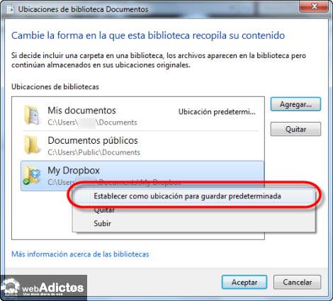 establecer carpeta predeterminada Cambiar la carpeta de guardado por defecto en Windows 7