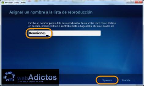 Crear una lista de reproducción en Windows Media Center - nombrar-lista-reproduccion-windows-media-center