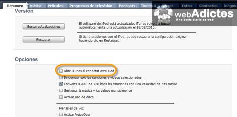 opciones ipod itunes Carga tu iPod sin abrir iTunes