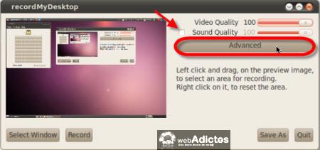 Graba la actividad de tu escritorio en Ubuntu - opciones-recordmydesktop