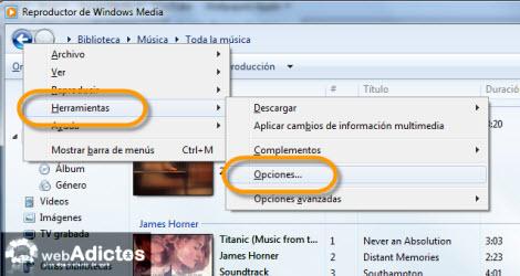 Configurar Vista Previa de Canciones en WMP12 - opciones-windows-media-player