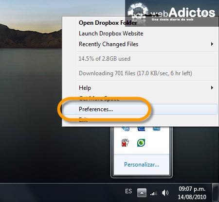 Sincronizar carpetas específicas con Dropbox - preferencias-dropbox