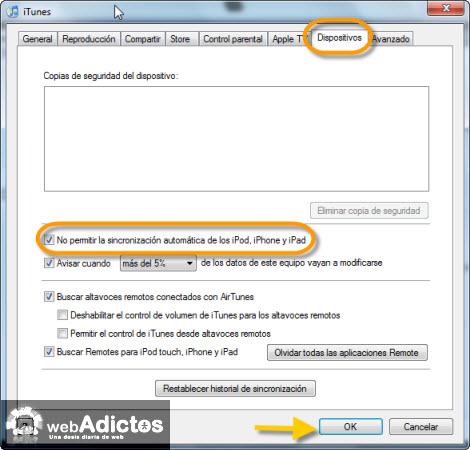 prohibir sincronizacion automatica Carga tu iPod sin abrir iTunes