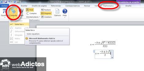 resolver ecuaciones word Resolver y graficar ecuaciones en Word 2007/2010